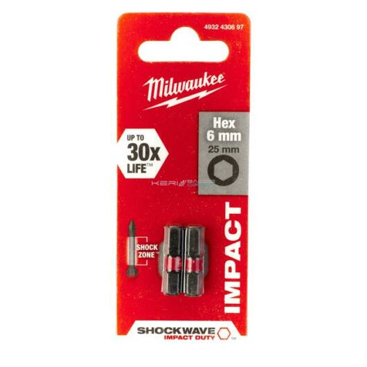 Milwaukee bithegy Hex 6mm 25 mm 1/4col (2 db)