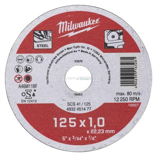 Milwaukee Vágókorong fémre 125x1,0x22,2 egyenes SCS 41