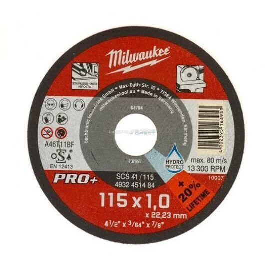 Milwaukee vágókorong fémre 115x1,0x22,2 inox egyenes SC41 PRO+