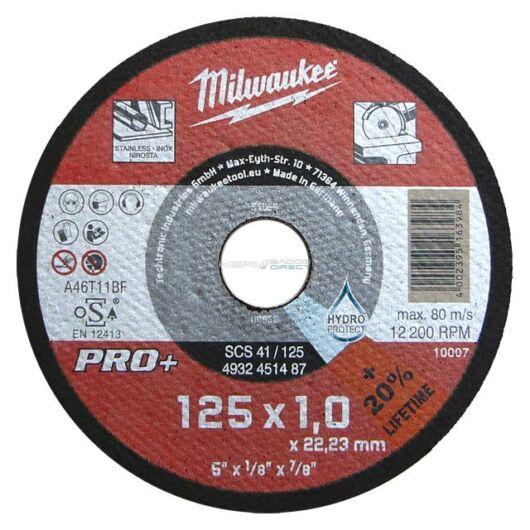 Milwaukee vágókorong fémre 125x1,0x22,2 inox egyenes SC41 PRO+
