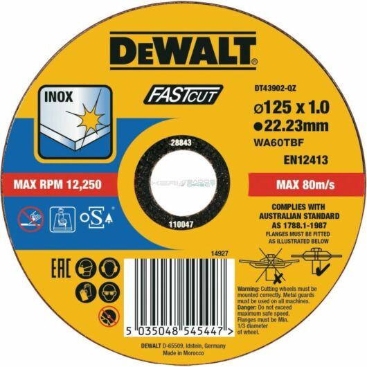 DeWALT 125x1, 0 Inoxvágó korong FASTCUT