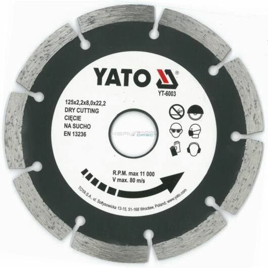 YATO gyémánt vágótárcsa 125x22,2 mm szegmentált