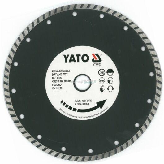 YATO gyémánt vágótárcsa 230x22,2 mm turbó